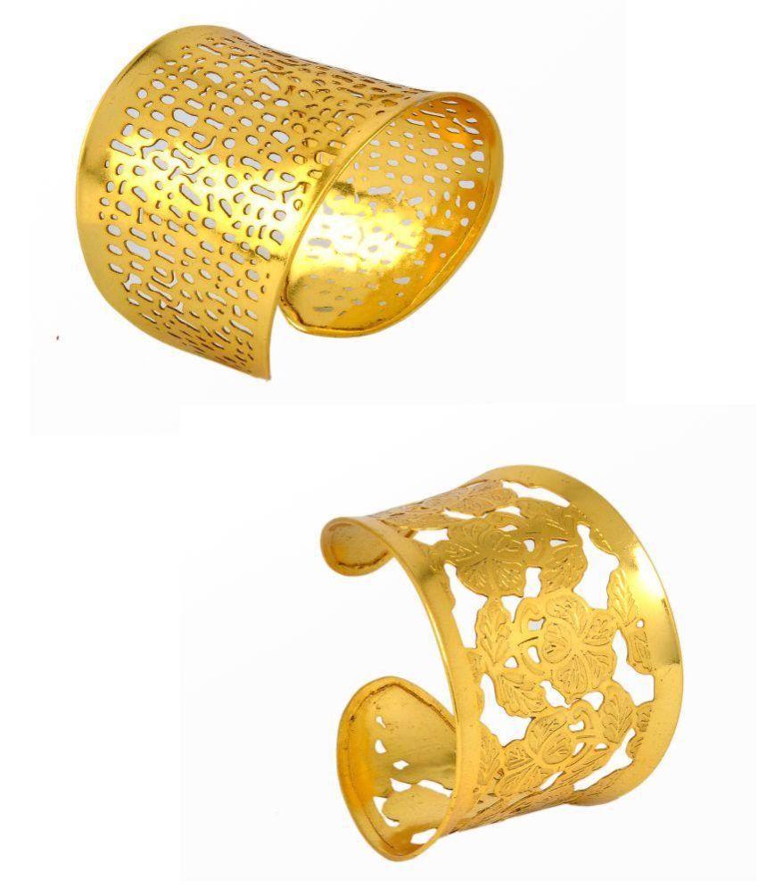 GP Brass Gold Plating Studded Gold Coloured Kada - Set of 2