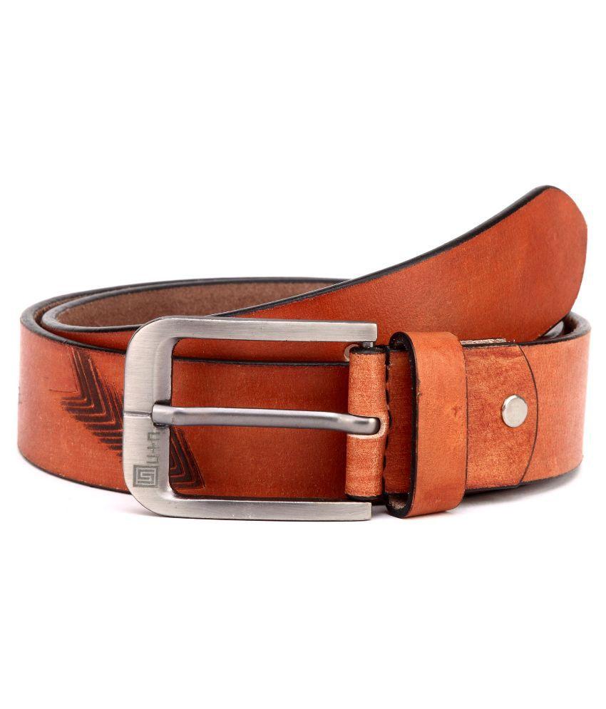 U+N Brown Leather Casual Belt For Men