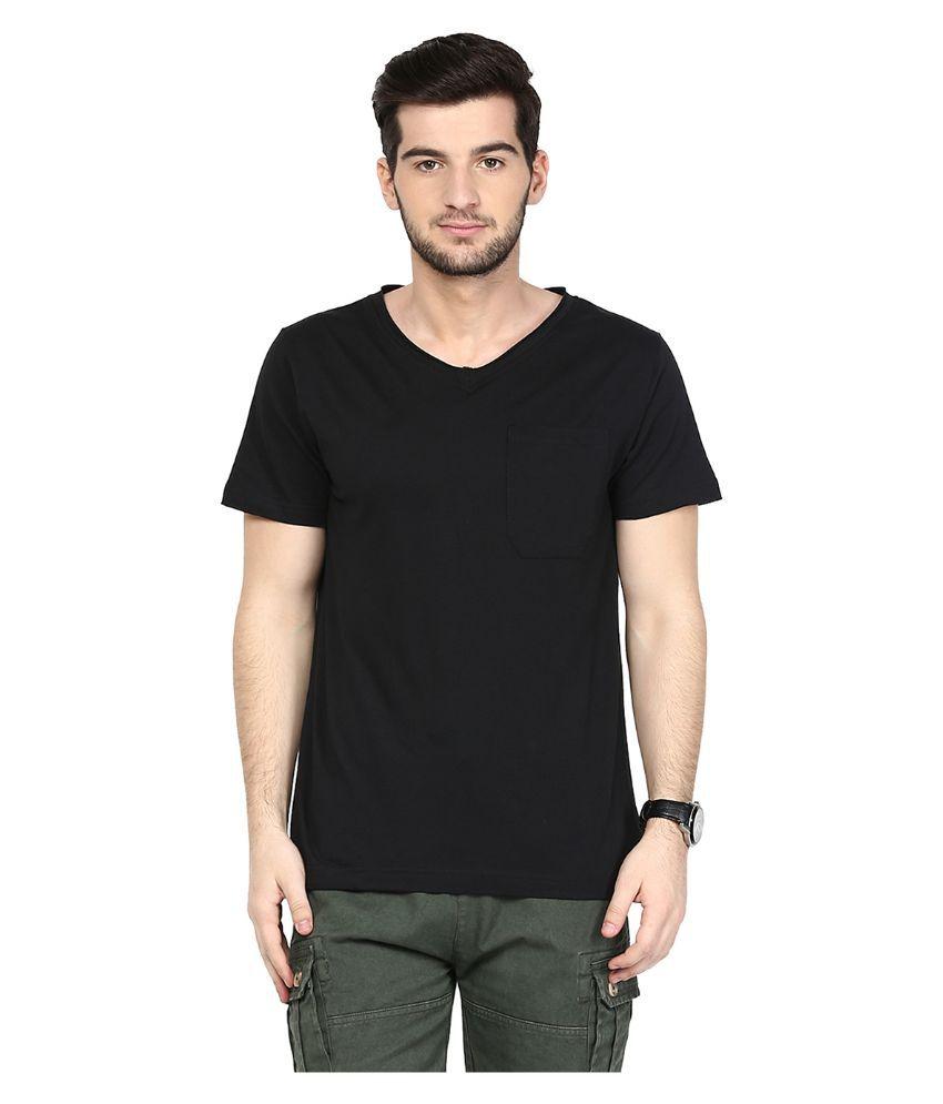 Yepme Black V-Neck T Shirt