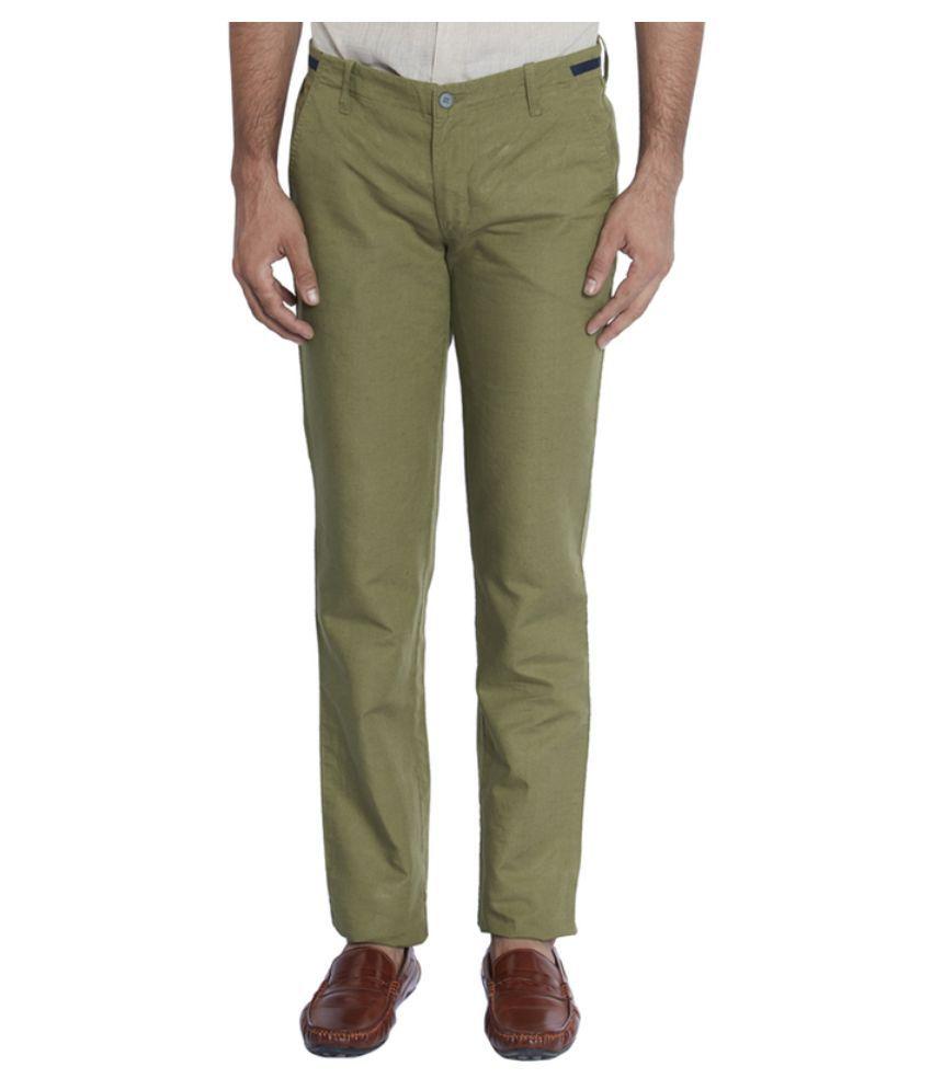 Park Avenue Green Regular Fit Flat Trousers