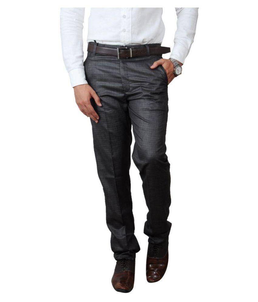 Pazel Grey Regular Fit Flat Trousers