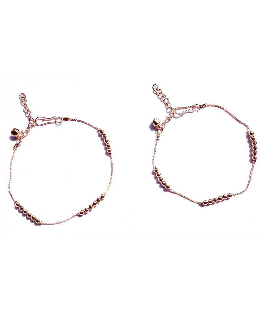 Uma Alloy Gold Plating Studded Gold Coloured Pair Of Anklets