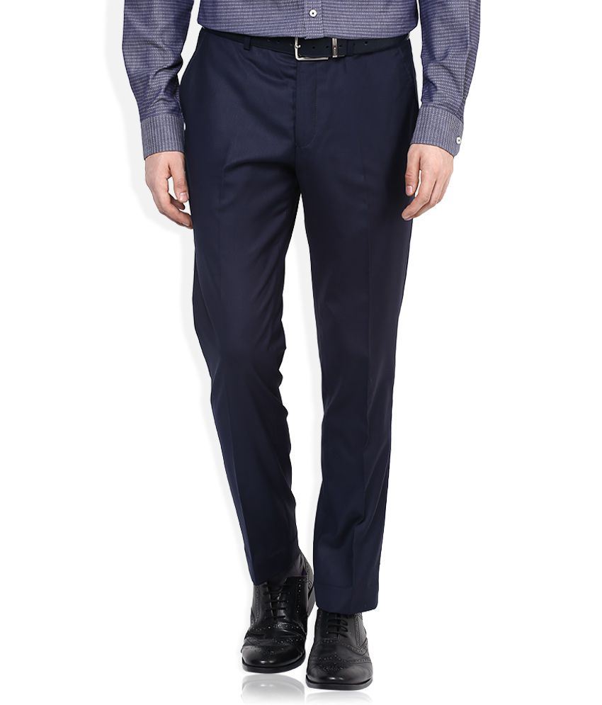 Selected Blue Slim Fit Pleated Trousers