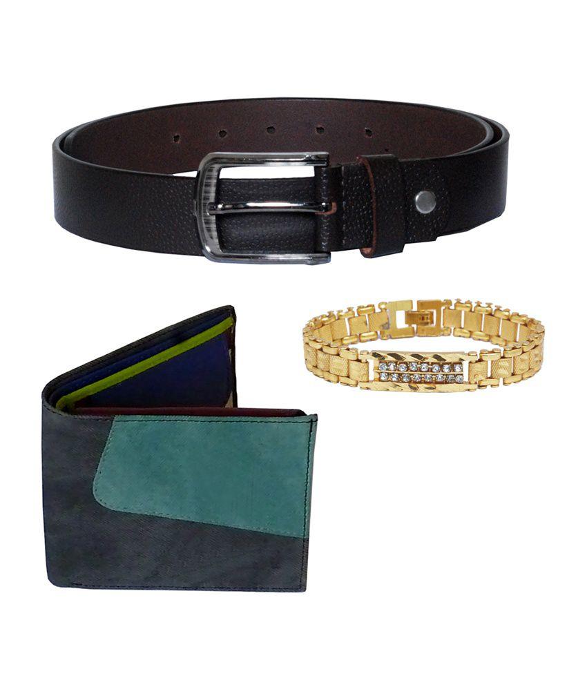 Sondagar Arts Men's Belt with Wallet & Bracelet