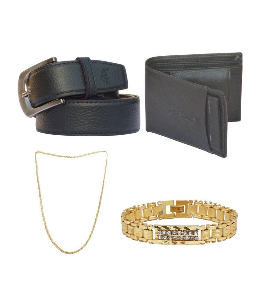 Sondagar Arts Men's Belt with Wallet, Bracelet & Chain