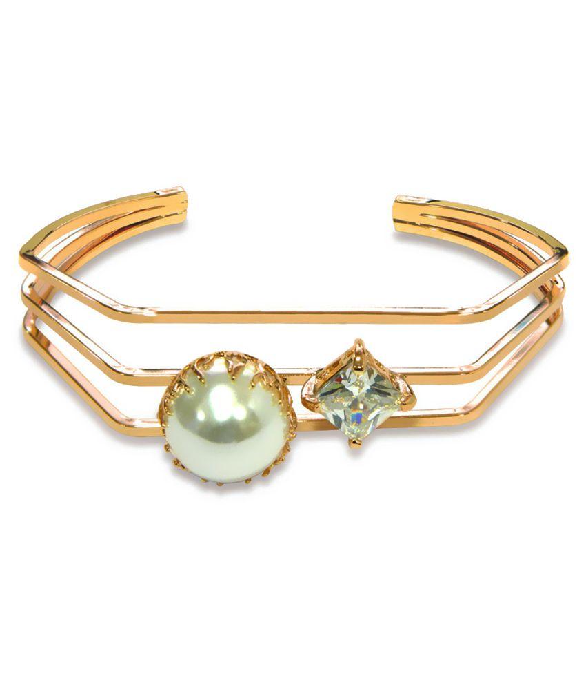 Peora Alloy Studded Gold Coloured Bracelet