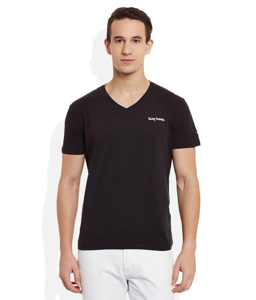 6975ab6f6717 Being Human Black V-Neck T Shirt - Buy Being Human Black V-Neck T Shirt  Online at Low Price - Snapdeal.com