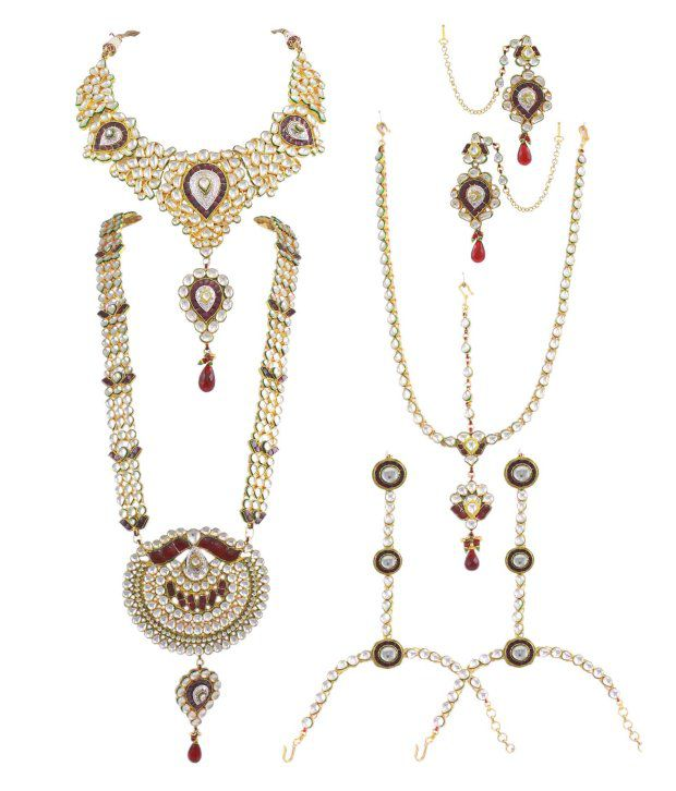 Orniza Brass Gold Plating Studded Multi Coloured Necklaces Set