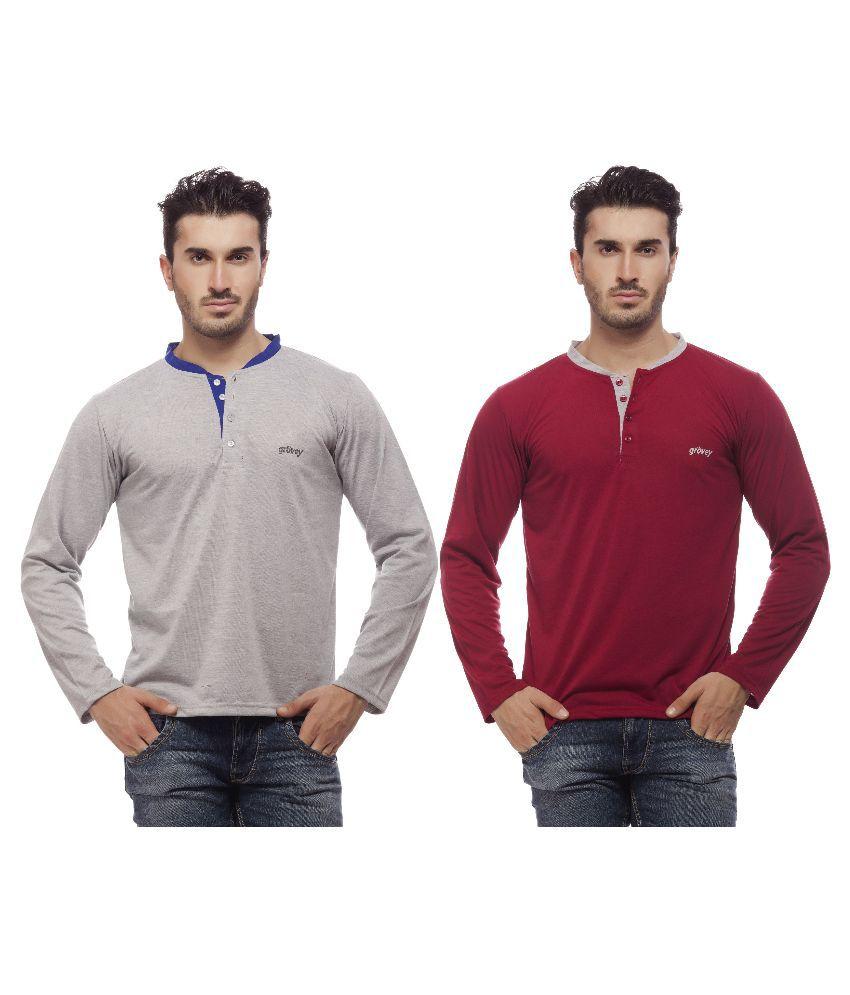 Grovey Multi Henley T Shirt - Pack of 2