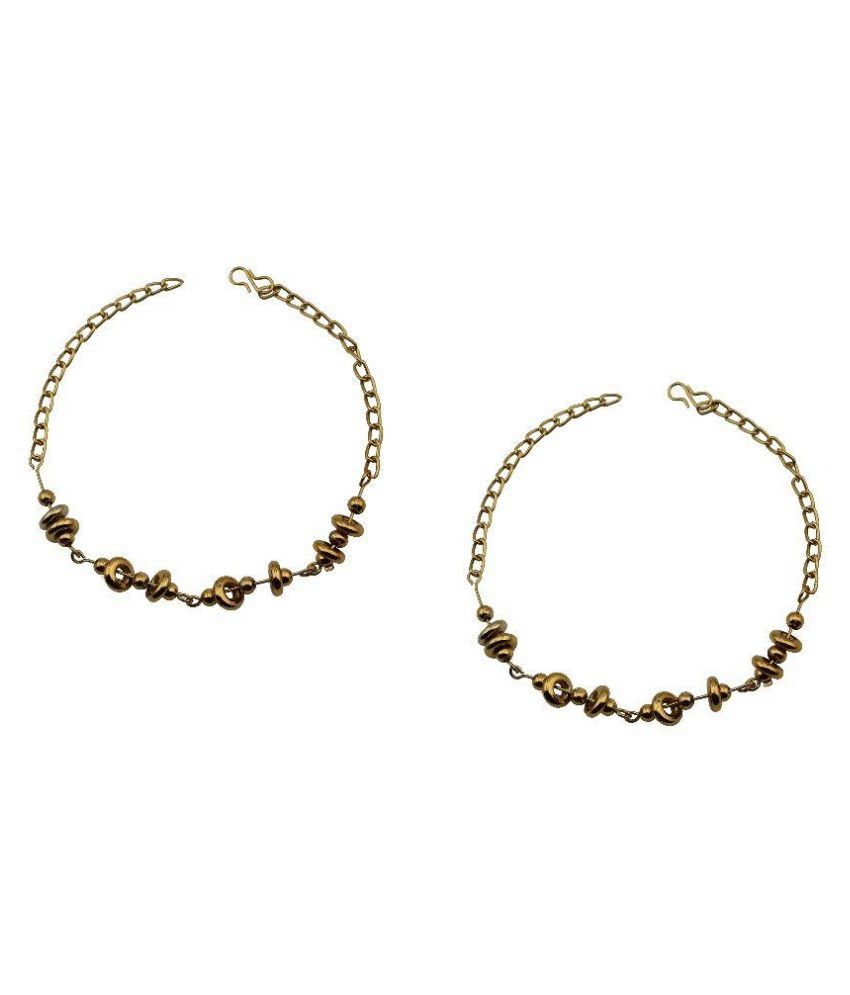High Trendz Alloy Gold Plating Studded Gold Coloured Anklet & Toe-ring