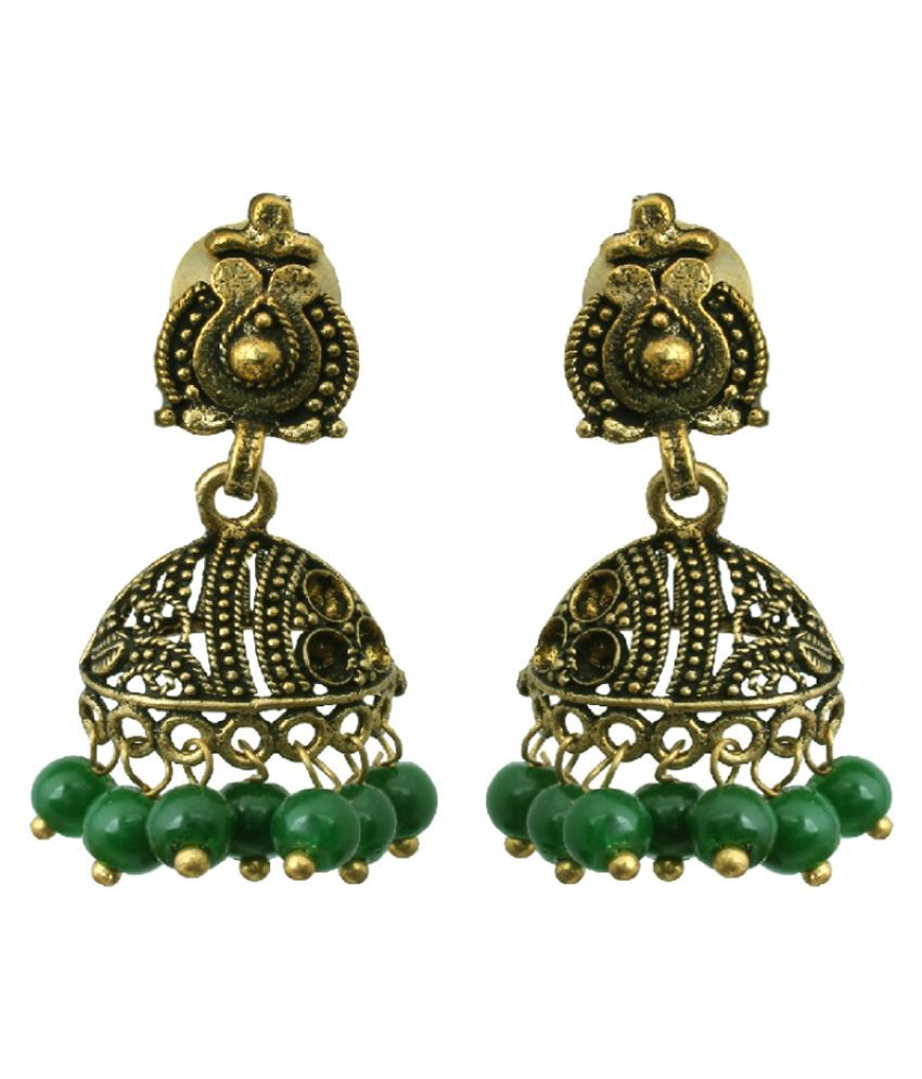 Waama Jewels Brass Gold Plating Pearls Studded Multi Coloured Earrings