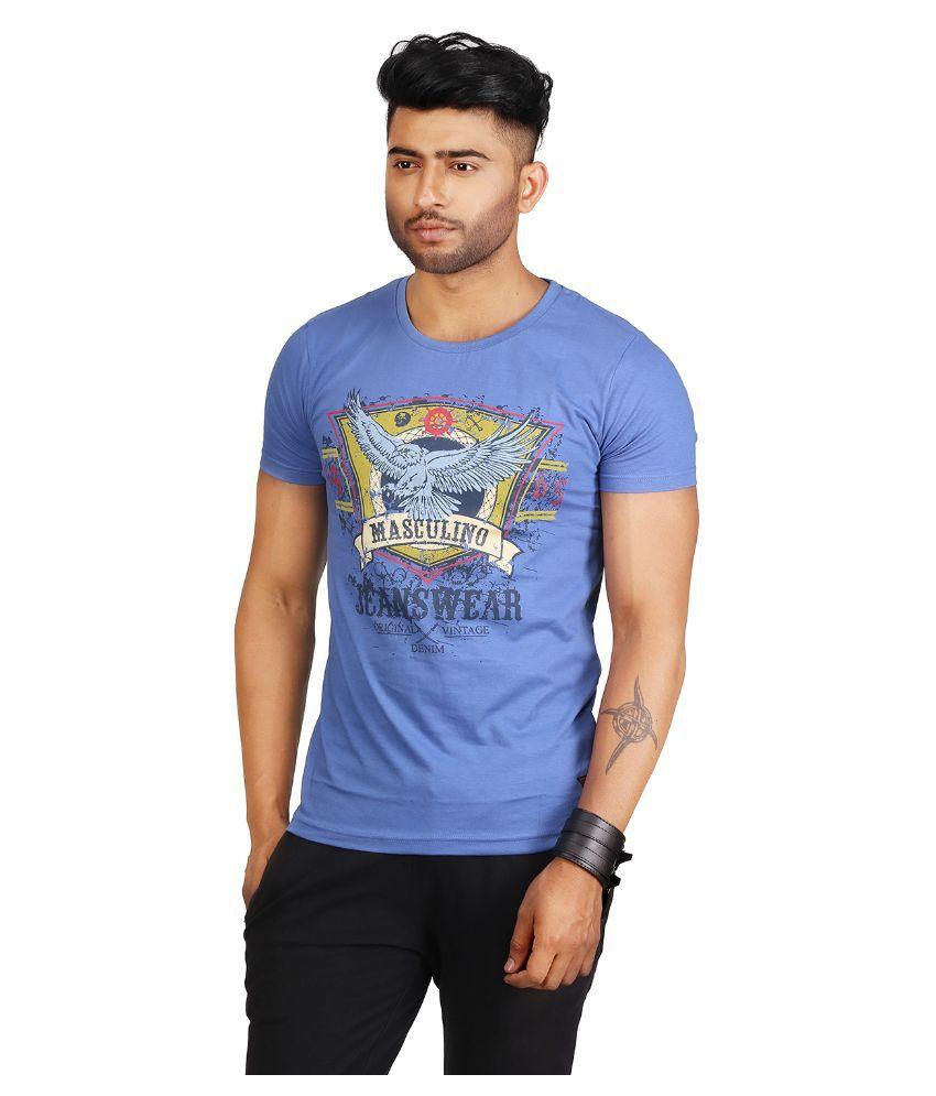 Masculino Latino Blue Round T Shirt