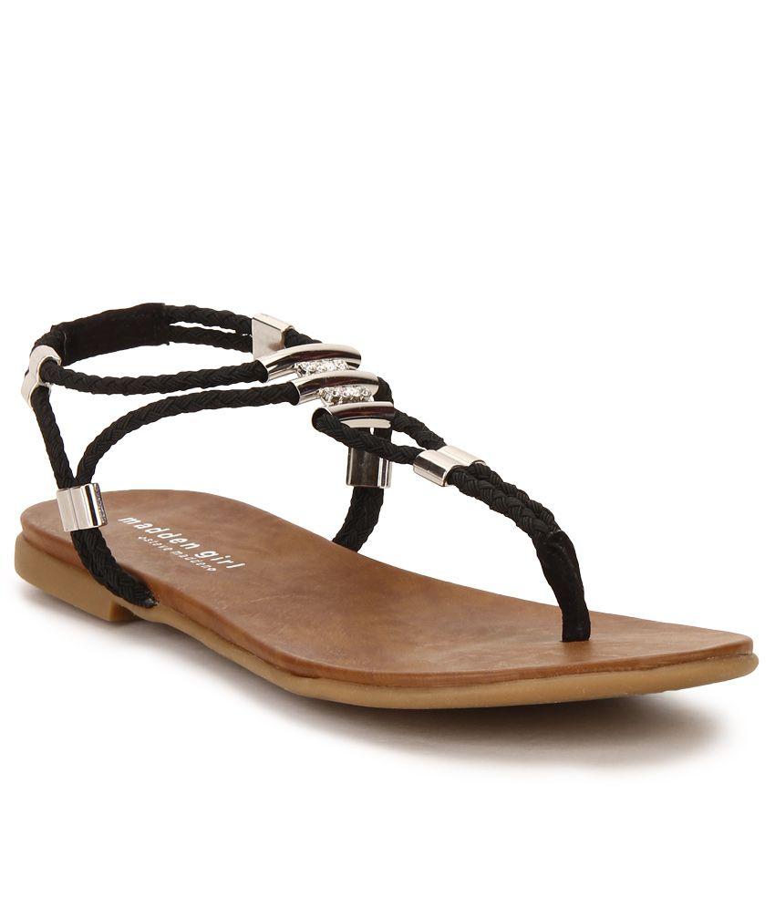 Steve Madden Flexii Black Flat Sandals