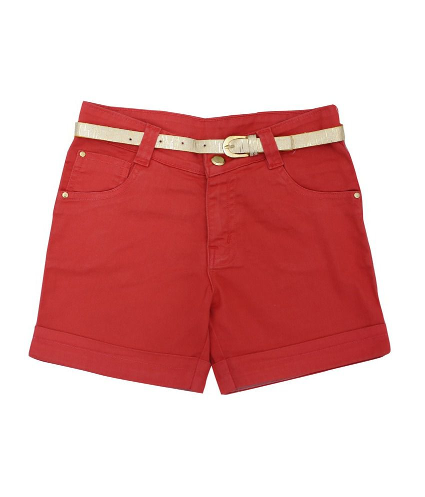 Titrit Red Cotton Shorts for Girls
