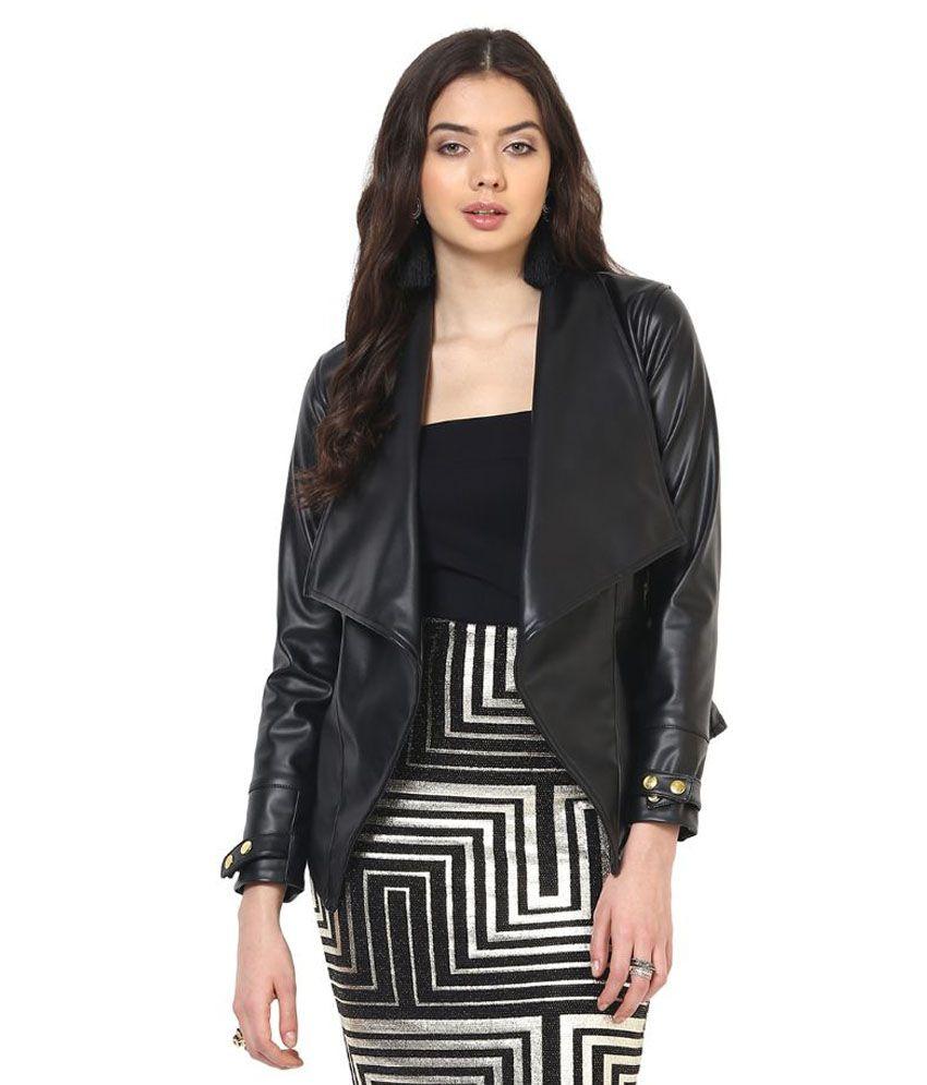 Leather jacket yepme - Yepme Black Pu Leather Quiltted Jackets