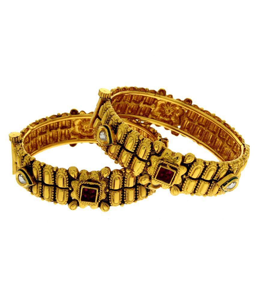 Anuradha Art Alloy Gold Plating Cubiz Zirconia Studded Gold Coloured Bangle Set