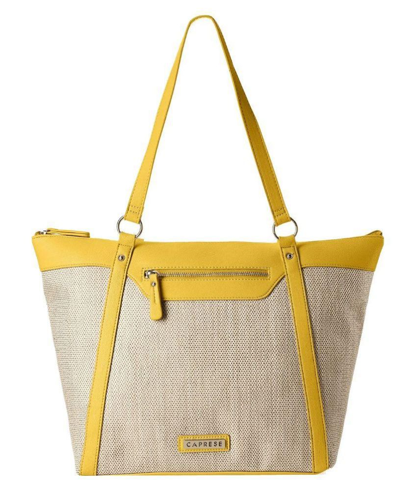 Caprese Yellow Faux Leather Tote Bag