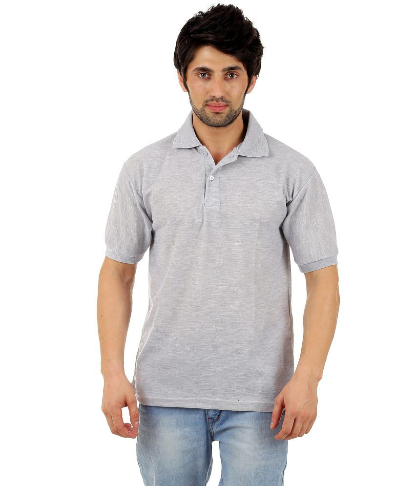vestiario grey cotton blend polo t shirt buy vestiario grey cotton blend polo t shirt online. Black Bedroom Furniture Sets. Home Design Ideas