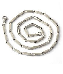 AVN Jewellers Brass Studded Silver Coloured Chain