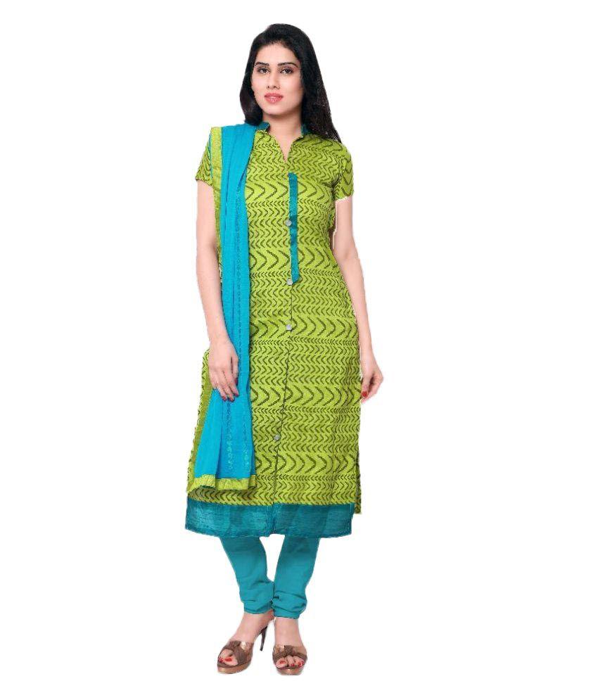 Apple Creation Green Dupion Silk Straight Semi Stitched Dress Material