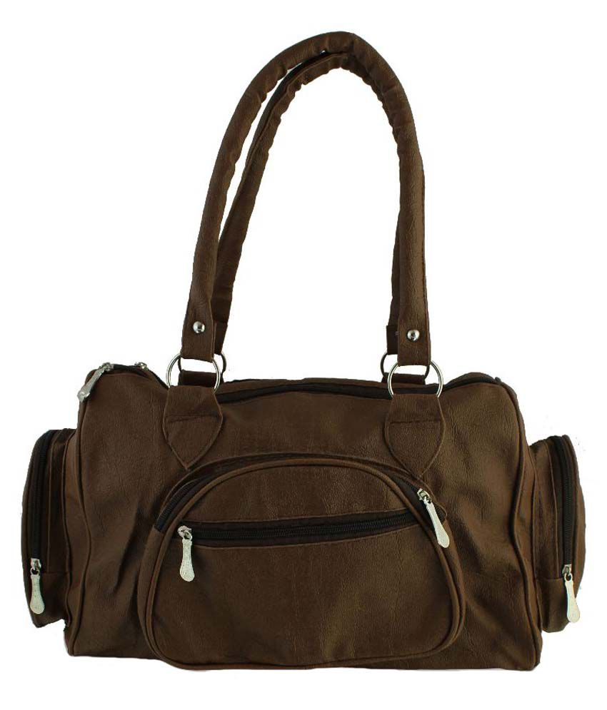 Clementine Brown Synthetic Shoulder Bag