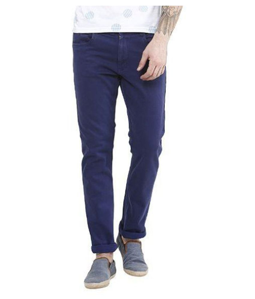 Upperclass Blue Slim Fit Solid Jeans
