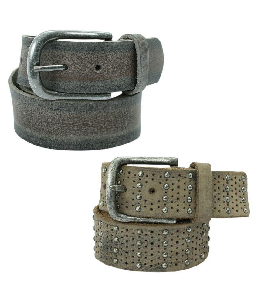 Aspro Leder Multicolor Leather Belt - Pack Of 2
