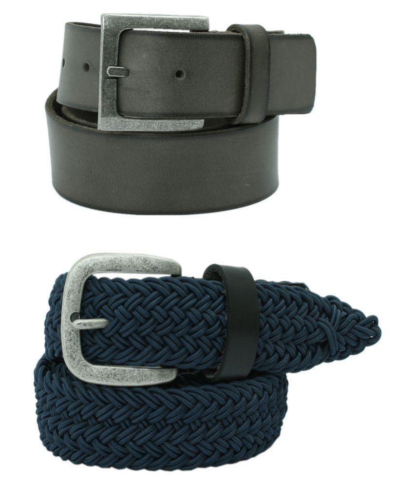 Aspro Leder Multicolour Belts for Men - Pack of 2