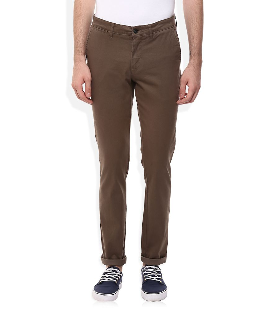Celio Brown Regular Fit Trousers