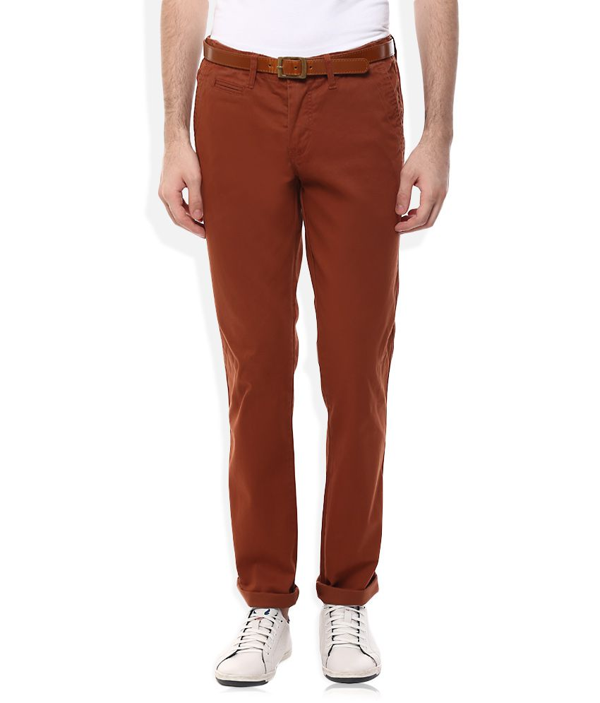 Celio Red Regular Fit Trousers