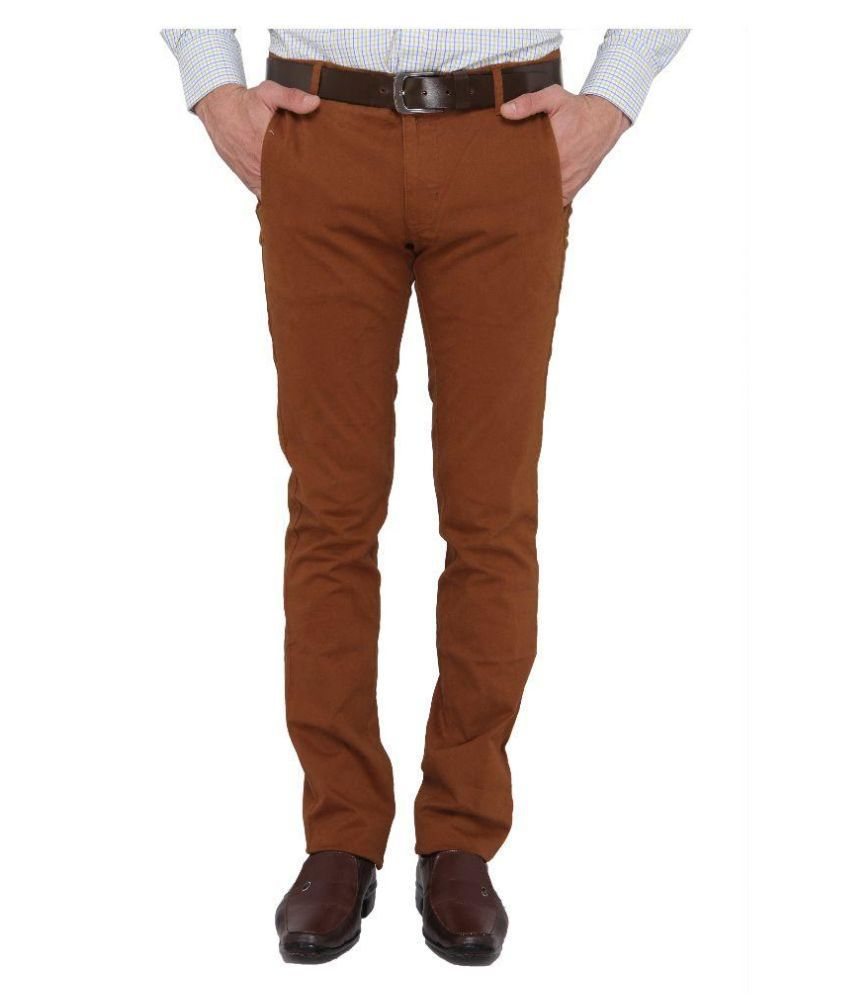 Donear NXG Brown Regular Fit Flat Trousers