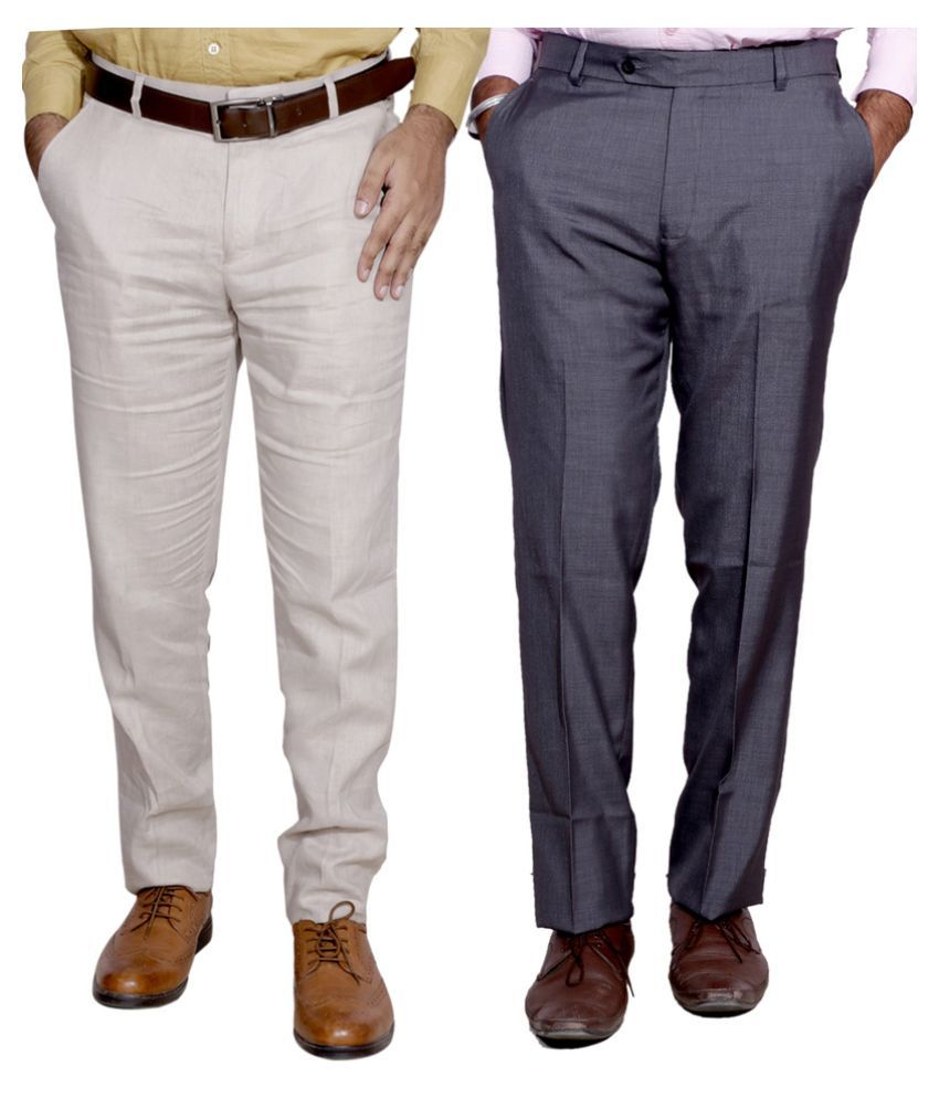 Indiweaves Multi Regular Fit Flat Trousers Pack of 2