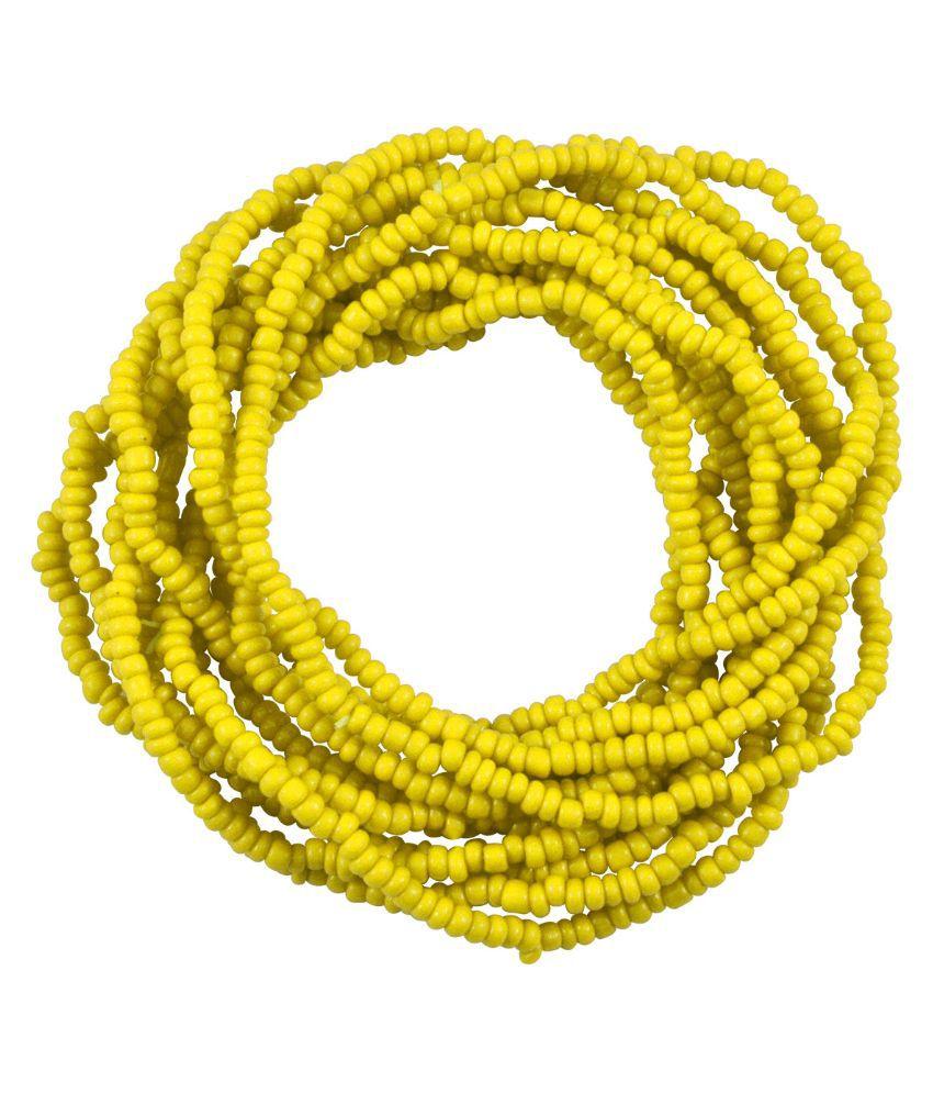 Sarah Beads Oxidised Studded Yellow Coloured Bracelet