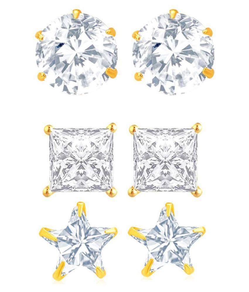 Aditri Brass Gold Plating American diamonds Studded White Coloured Earrings
