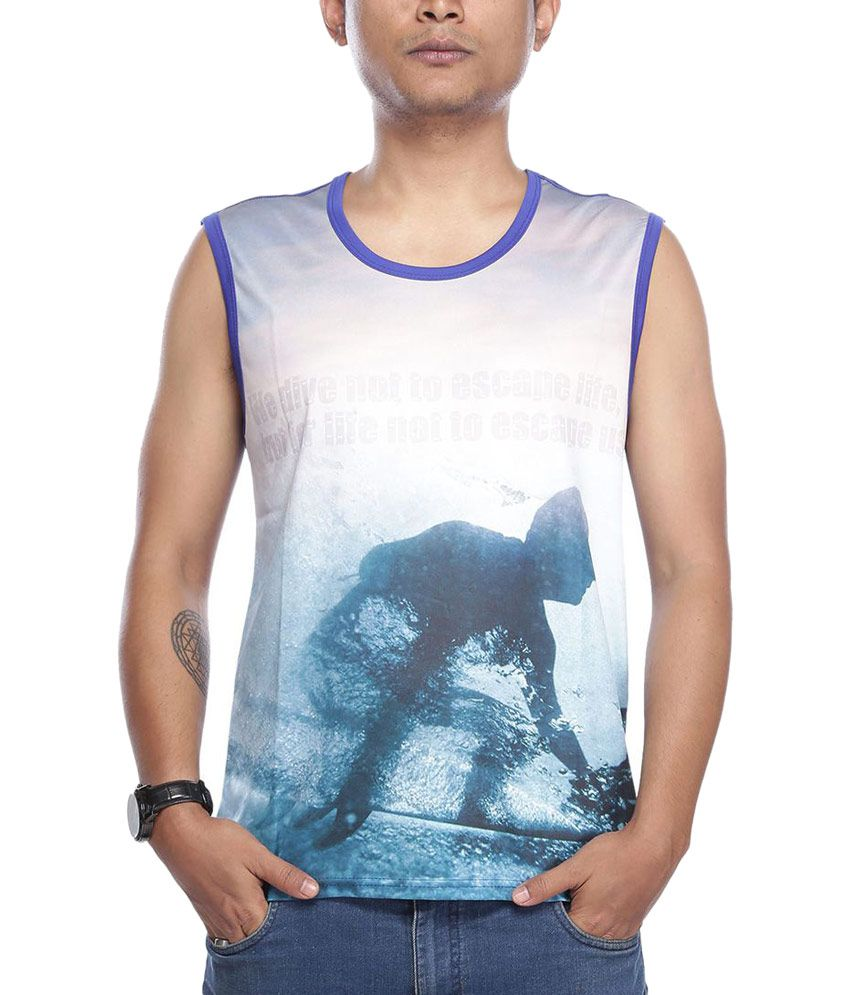 Vishal Blue Round Neck Half Printed T-Shirt