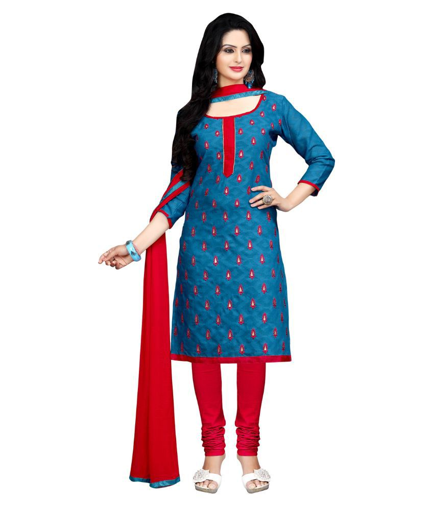 Apple Creation Light Blue Jacquard Straight Unstitched Dress Material