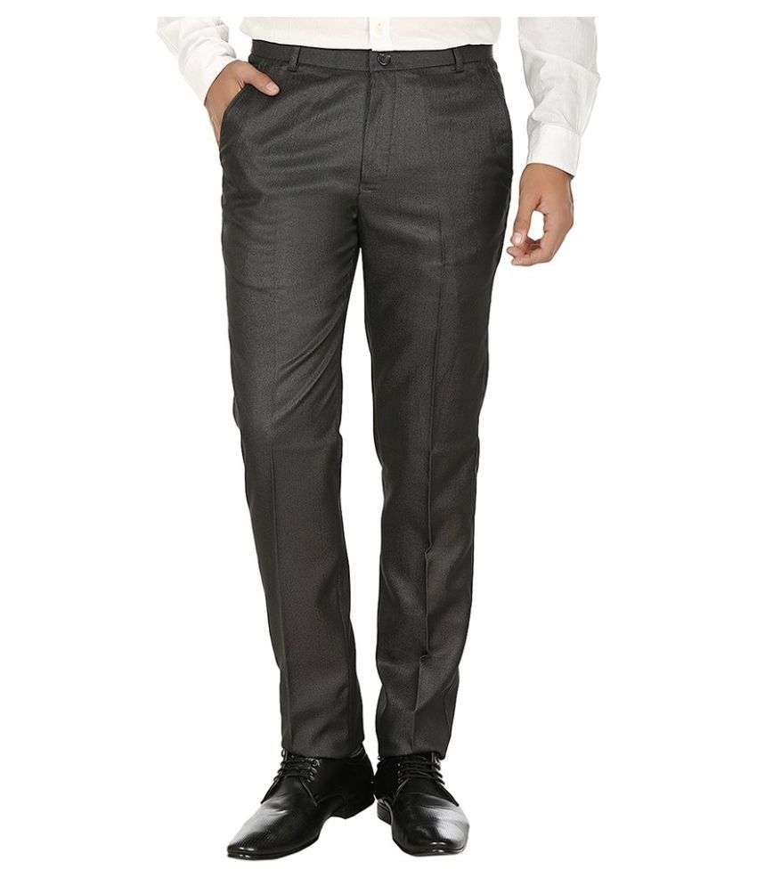 Fever Grey Slim Fit Flat Trousers