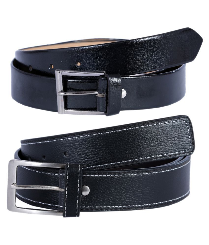 Hardy's Collection Black Single Pin Buckle Belt for Men Pack of 3