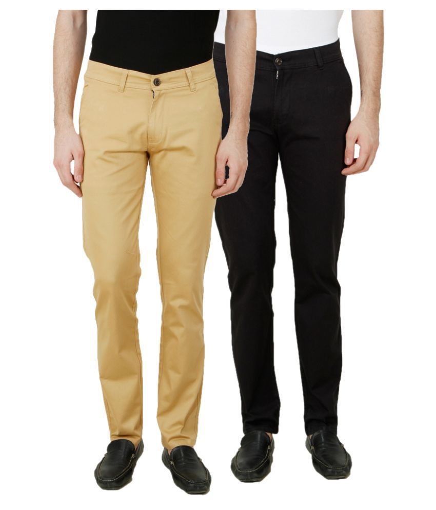 Ansh Fashion Wear Multi Regular Fit Chinos Pack of 2