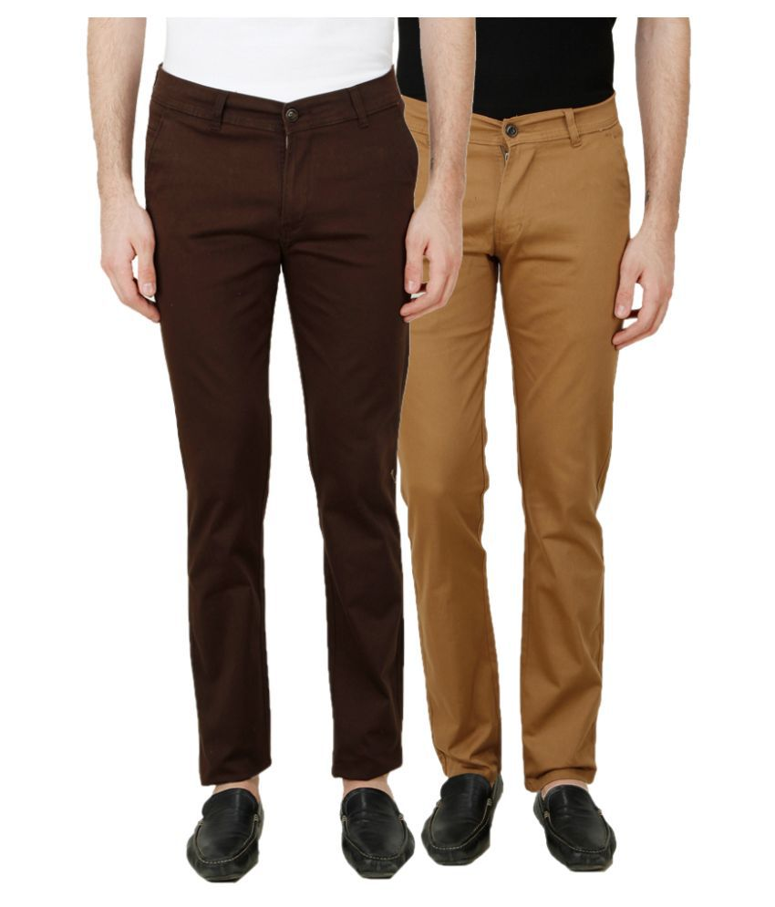 Ansh Fashion Wear Multi Regular Fit Chinos Pack of 2