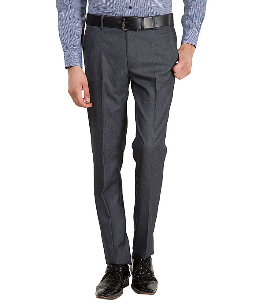 Black Coffee Grey Slim Fit Formal Trousers