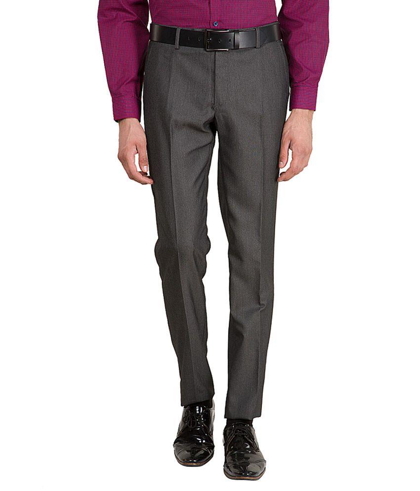 Black Coffee Grey Slim Fit Flat Trousers