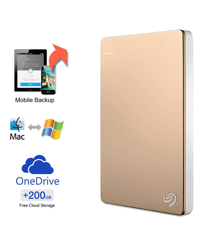 Seagate Backup Plus Slim 1TB Portable External Hard Drive with 200GB of Cloud Storage & Mobile Device Backup (Gold)