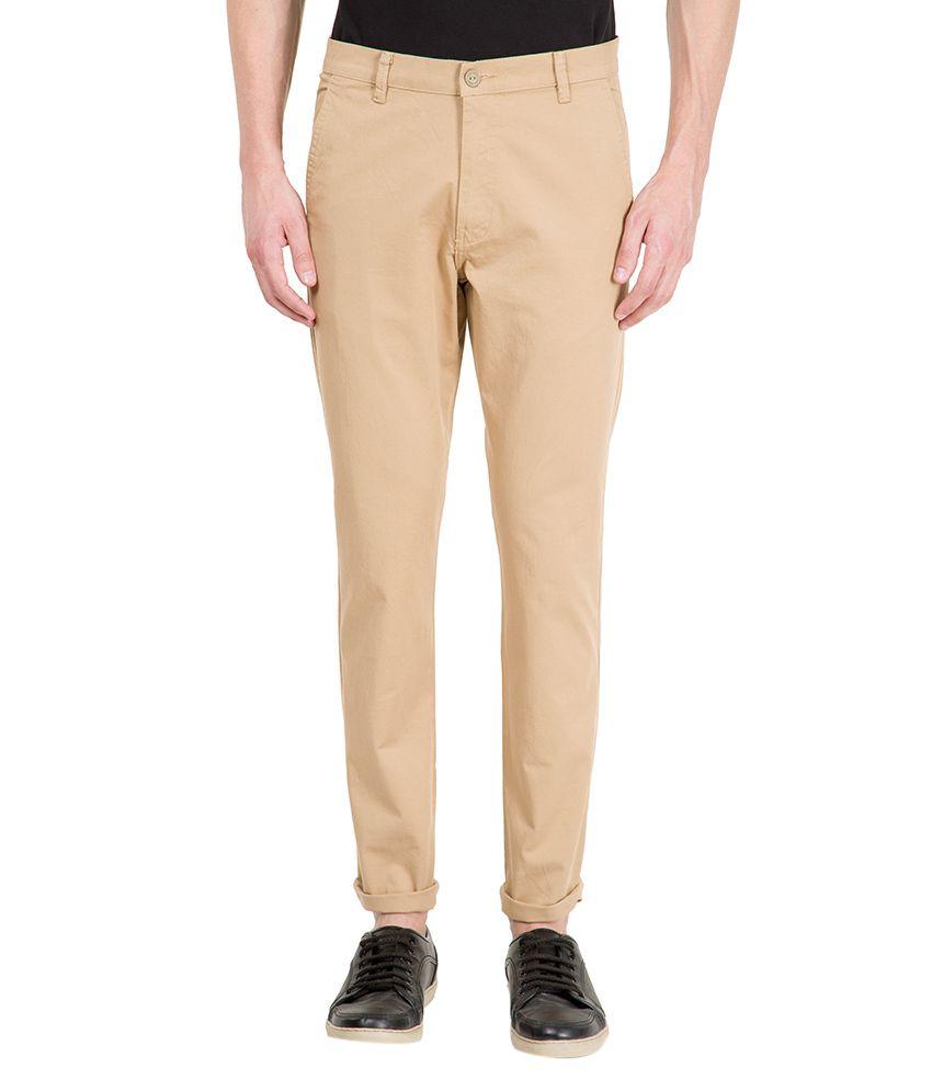 Highlander Beige Slim Fit Chino Trousers