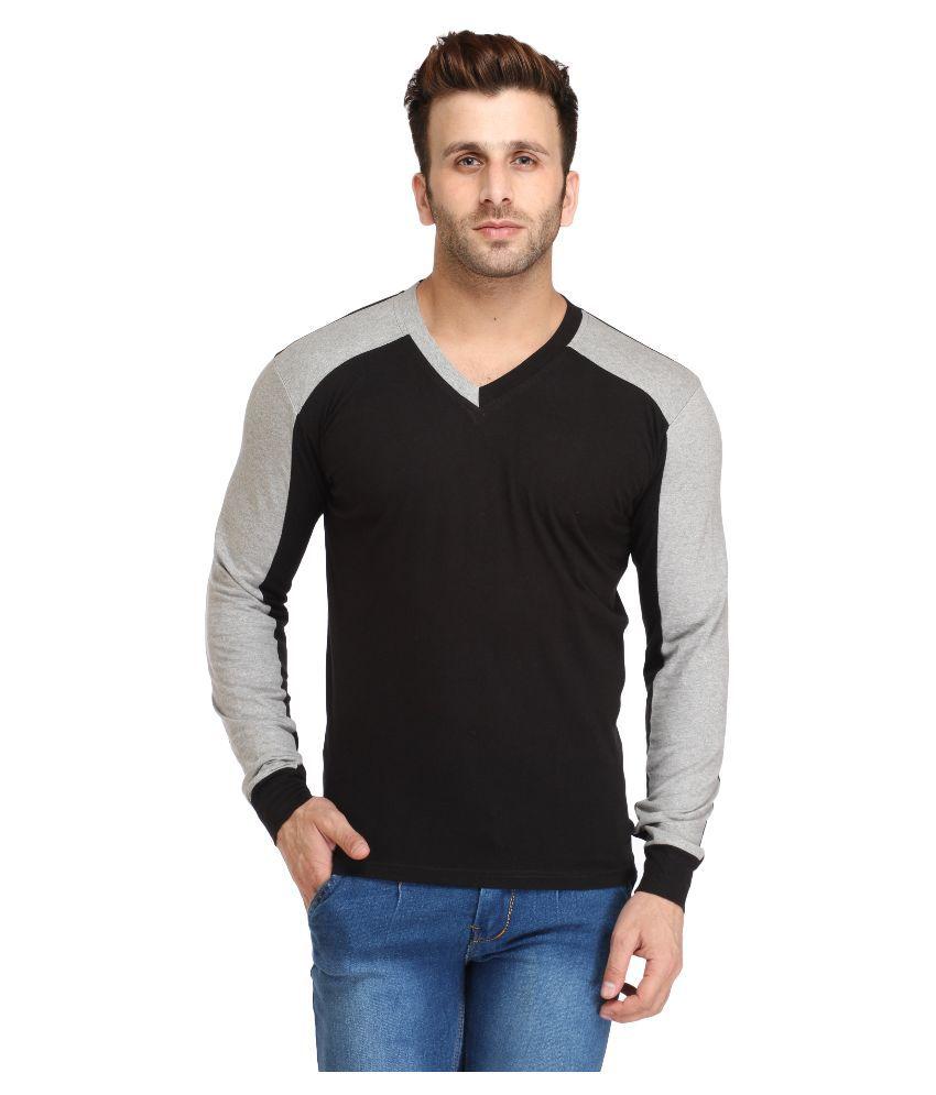 Leana Black V-Neck T Shirt Hand Wash, Dry in Shade, Soft Iron