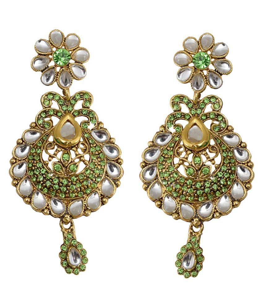 Taj Pearl Brass Oxidised Crystal Studded Multi Coloured Earrings Combo