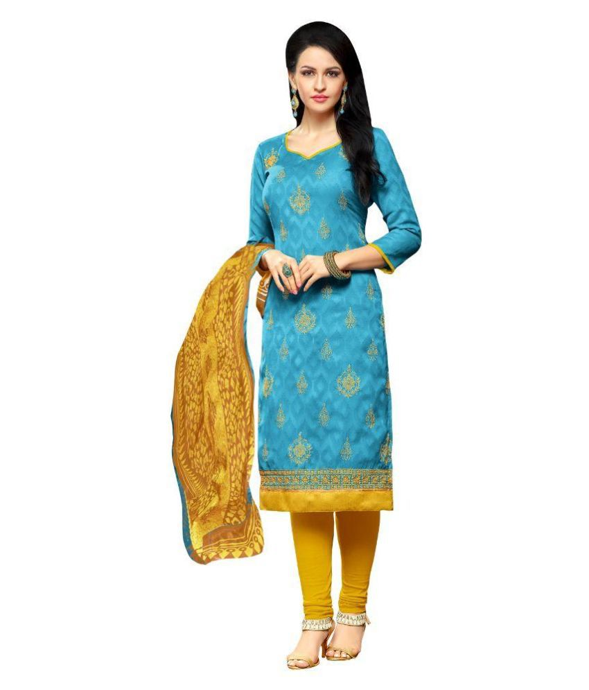 Apple Creation Blue Jacquard Straight Unstitched Dress Material