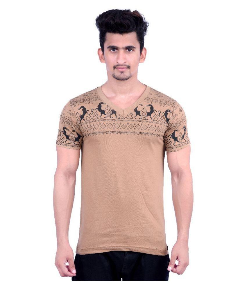 Holga Brown V-Neck T Shirt