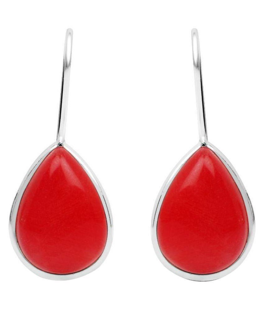 Johareez Brass Silver Plating Studded Red Coloured Earrings