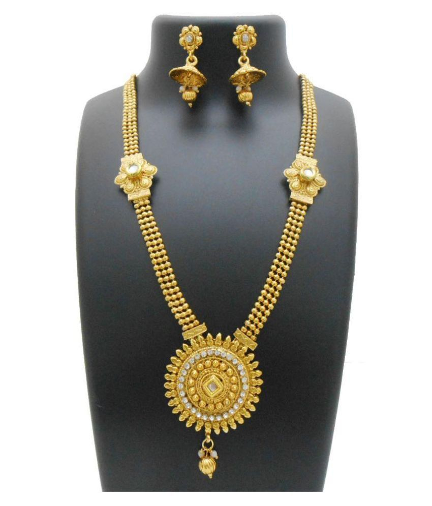 My Design Alloy Gold Plating Studded Gold Coloured Necklaces Set